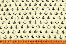 ANCHORS & SAILING BOATS - PRINTED POLY COTTON FABRIC