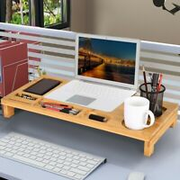 SONGMICS Bamboo Wood Monitor Stand Computer Riser with Storage Organizer Desk