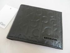 NWT CALVIN KLEIN CK LOGO SLIMFOLD WALLET Black Bag Purse Jacket LEATHER