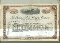 100  share common  B&O stock certificate 1927's  crisp cancelled-brown