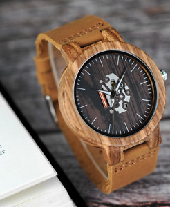 Men's Zebrawood Watch with Caramel Leather Strap & Skeleton Face / Wooden Watch