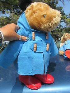 "VTG 20"" PADDINGTON TEDDY BEAR EDEN TOYS 1972 1980 81 ENGLAND BLUE COAT RED BOOTS"