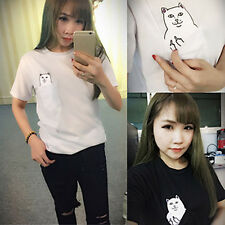 Funny Women Summer T-shirt Print Middle Finger Pocket Cat O-neck Hot Sale CUB