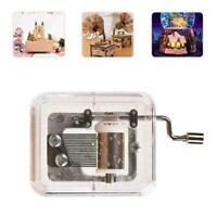 Mini manuelle Bewegung Gurdy Music Box Acryl Handkurbel Kinder Geschenk Neu P8Q2