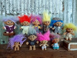 """Mixed Lot of 10 Vintage Russ Ace 5"""" Trolls Baby Soldier Prisoner Grey Hair   X3"""