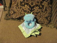 Super cute Carters Plush Blue & Green MONSTER Velour Satin BLANKET Rattle (64/44
