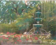 "Original Painting of Evanston Landmark ""Centennial Fountain"" by Susan Kuznitsky"
