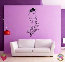Wall Stickers Vinyl Naked Girl Woman Female Flowers Beauty  (z1647)