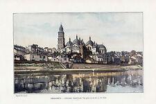 24 PERIGUEUX CATHEDRALE SAINT FRONT VUE PRISE RIVE DE L ISLE IMAGE COULEUR 1903