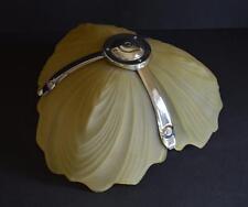 SUPERBE 1930 S ART DECO ODEON Style Ambre Verre & Chrome Plafonnier Lustre