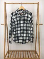 J. Crew Women's Black White Flannel Button Front Long Sleeve Shirt Size M EUC