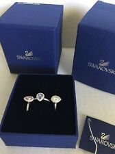 SWAROVSKI Christie Crystal Stackable Ring Set of 3 Rhodium Plated Sz 55 7 NIB