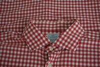 Hackett London Red White Gingham Spread Collar French Cuff Cotton Dress shirt 17