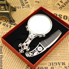 Vintage Hand Mirror &Comb Set Silver w/Art Nouveau Deco Enamel Rhinestone Design