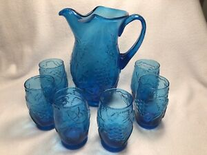 VTG Capri Blue Glass Water Pitcher Set w/6 Glasses Raised Fruit Pattern *RARE*