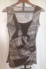 Jason Maxwell Black Geometric Sleeveless Poly Wrap Knit Top Size M