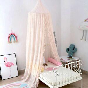 Beige Lace Chiffon Polka Dot Princess Canopy Boho Kids Girl Fairy Themed Nursery