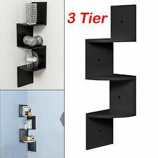 3 Tier Floating Wall Triple Shelves Corner Shelf Storage Display Bookcase Decor