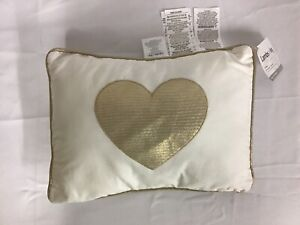 Lambs & Ivy Gold White Heart Decorative Nursery Throw Pillow Dawn Collection