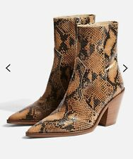 NEW TOPSHOP REAL LEATHER HARLEM BROWN SNAKE ANKLE BOOTS UK SIZE 8 EUR 41 RRP £89