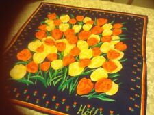 Vintage Kist Designs Holland 34x34 Silk Scarf Spring Fkoral Tulips Red Yellow
