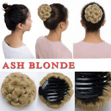Real Claw on Clip In Hair Extensions Chignon Bun Updo Curly Blonde For Human HYT