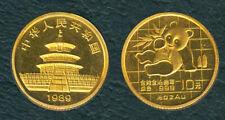 China 1989 1/10 oz PANDA 10 Yuan Original Mint GOLD Coin Early Year UNC