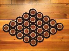 Prim Wool Felt Penny Rug Table Runner Candle Mat Black, Camel, Dark Rusty Orange
