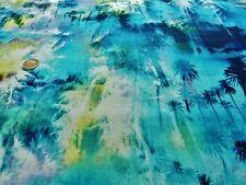 Stretch Jersey-Palma Splash Stampa-Vestito Tessuto (Freee P&P solo Regno Unito)