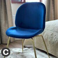 Luxury Navy Blu Velvet / Gold Legs Dining Chair / Home Office Seat Piped Soft