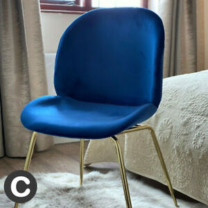 Luxury Navy Blue Velvet / Gold Legs Dining Chair / Home Office Seat Piped Soft