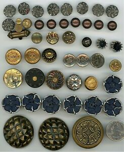 48 Vintage Metal Buttons: Domed, Pewter, Geometric, Sets