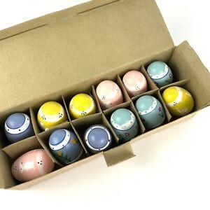 Lillian VernonEaster Eggs Set Of 12 Pastel Hand PaintedWoodenDecorative Vtg