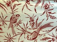 """Antique French Floral Fabric Red and Ivory Exotic Birds Toile 33"""" X 63"""""""