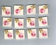 Mosaic Tiles Pink rosebud 12 rose chic ceramic clay handmade G564