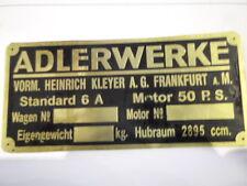 Typenschild Adler Standard 6 A . 50 PS 2,7 Liter Adlerwerke Messing S12