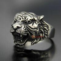 Men's Vintage 316L Stainless Steel Tiger Head Biker Ring Masculine Animal Band