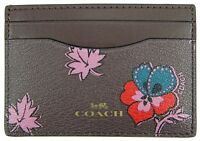c254180845b5 Coach Womens Wildflower Print Card Case Brown Red and Mauve Flowers Logo  F12773