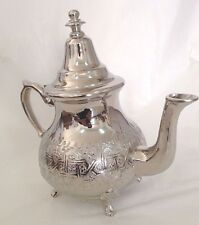 Moroccan Large Tea Pot Handmade Serving 6 Cups Brass Silver Plated Fez African