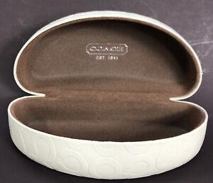 Authentic Coach Hard Sunglass Case Ivory Moon-Shape Large Brown Felt Interior