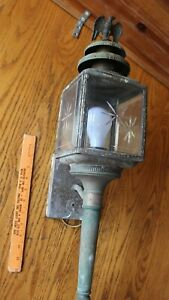Vintage Lantern outdoor lamp wall mount Brass Copper Eagle finial beveled glass
