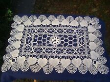HEART Pattern WHITE CLUNY LACE Style RECTANGLE Doily Runner 14 x 20 in