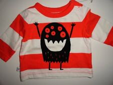 NEW Baby GAP 0-3 Halloween Monster Orange Striped T-shirt