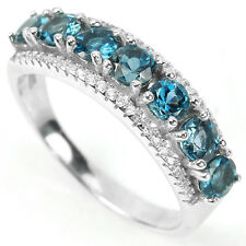 Sterling Silver 925 Genuine London Blue Topaz Band Design Ring Size R1/2 (US 9)