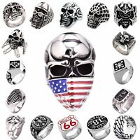 Men's 316L Silver Stainless Steel Cool Motorcycle Rings Biker Jewelry US 7-15