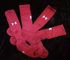 2 Under Armour HEATGEAR BURGUNDY RED crew cushion socks Men's XL / 13-16 LAST 1