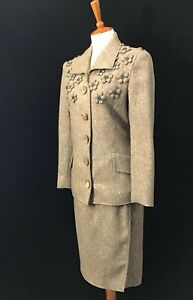 Blouse and Skirt Set |\u00a0Heavy cotton White and Brown 1940s Striped Suit Excellent Condition XSS