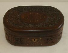 Handmade-Wooden-Jewelry-box-Rosewood-Carved-Timber-Oval-Shaped-Large-Size-12