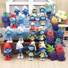 24Pcs/Lot The Smurfs 3 the lost Village Papa Smurfette Clumsy Action Figure Toy