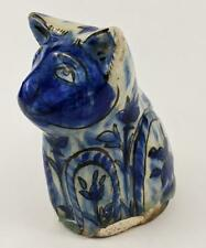 QAJAR PERIOD ISLAMIC POTTERY CAT FIGURINE 19TH CENTURY